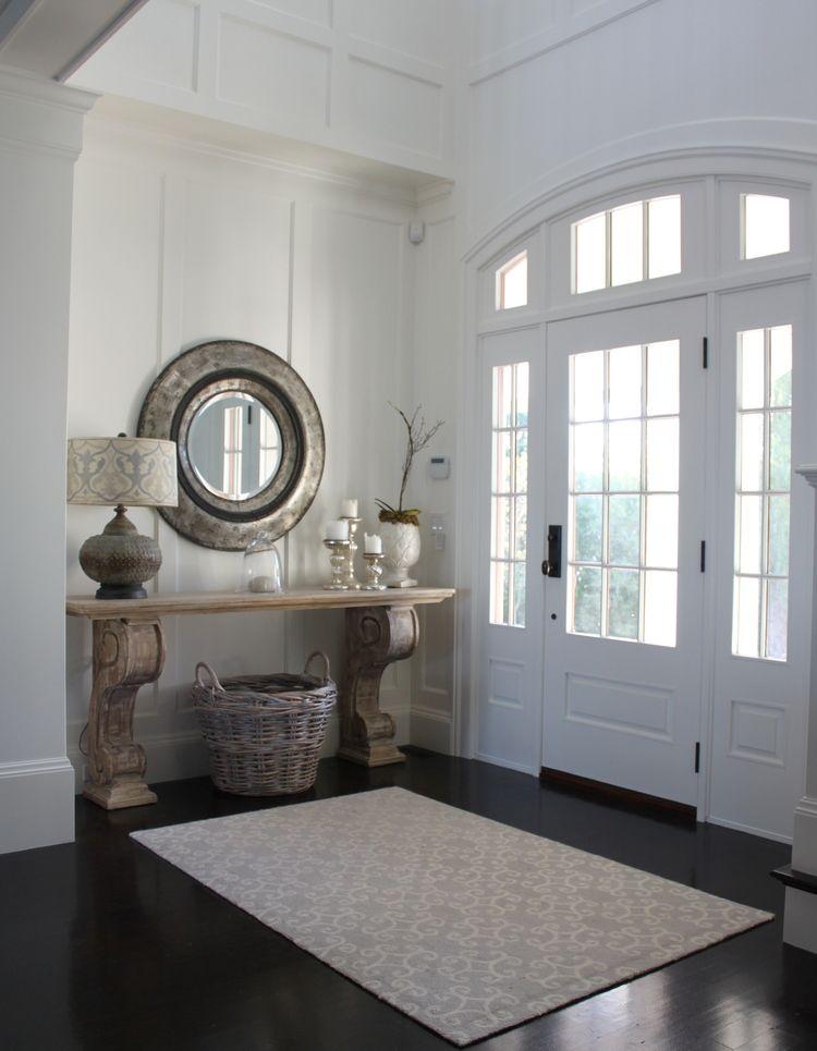 West Beach House White Front Door Paned Glass Dark Wood Floors