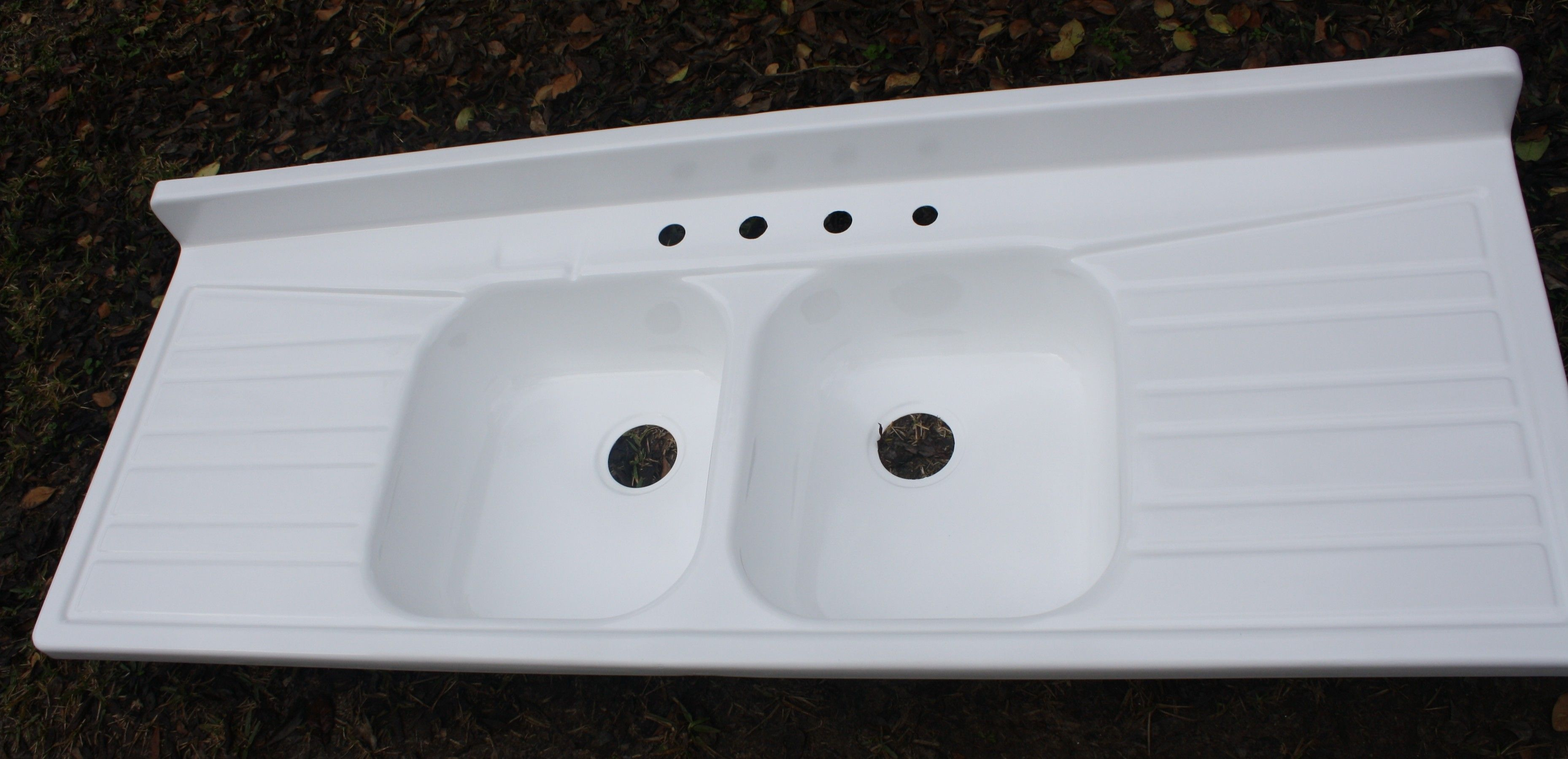 kitchen sinks with drain boards espresso pantry large ceramic or enameled board 1950 39s