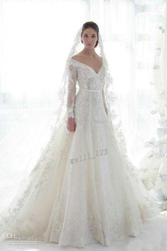 Traditionelle Schatz Langarm Weißer Spitze Applique Hochzeitskleid