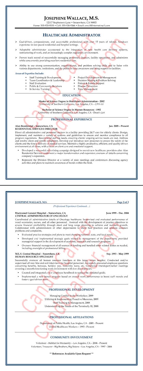 Healthcare Administrator Resume Sample  Resume Tips  Pinterest  Career Resume writing and