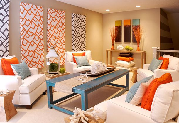 Colorful coastal living room at awesome design ideas  like the tan walls with blue and orange accents might also work yellow panels for home pinterest rooms attic rh