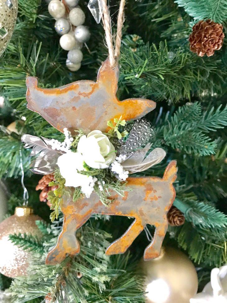 Rustic Boho Metal Rudolph Christmas ornaments, holiday, Pow Wow Weddding,  Baby Shower,
