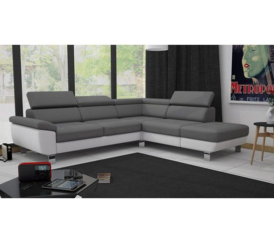 Canapes Angle Reversible William Ii Pu Blanc Gris