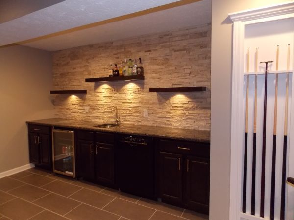 Cmh Builders Wet Bar With Floating Shelves Stacked