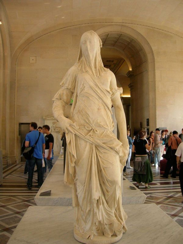 Veiled Woman Marble Sculpture