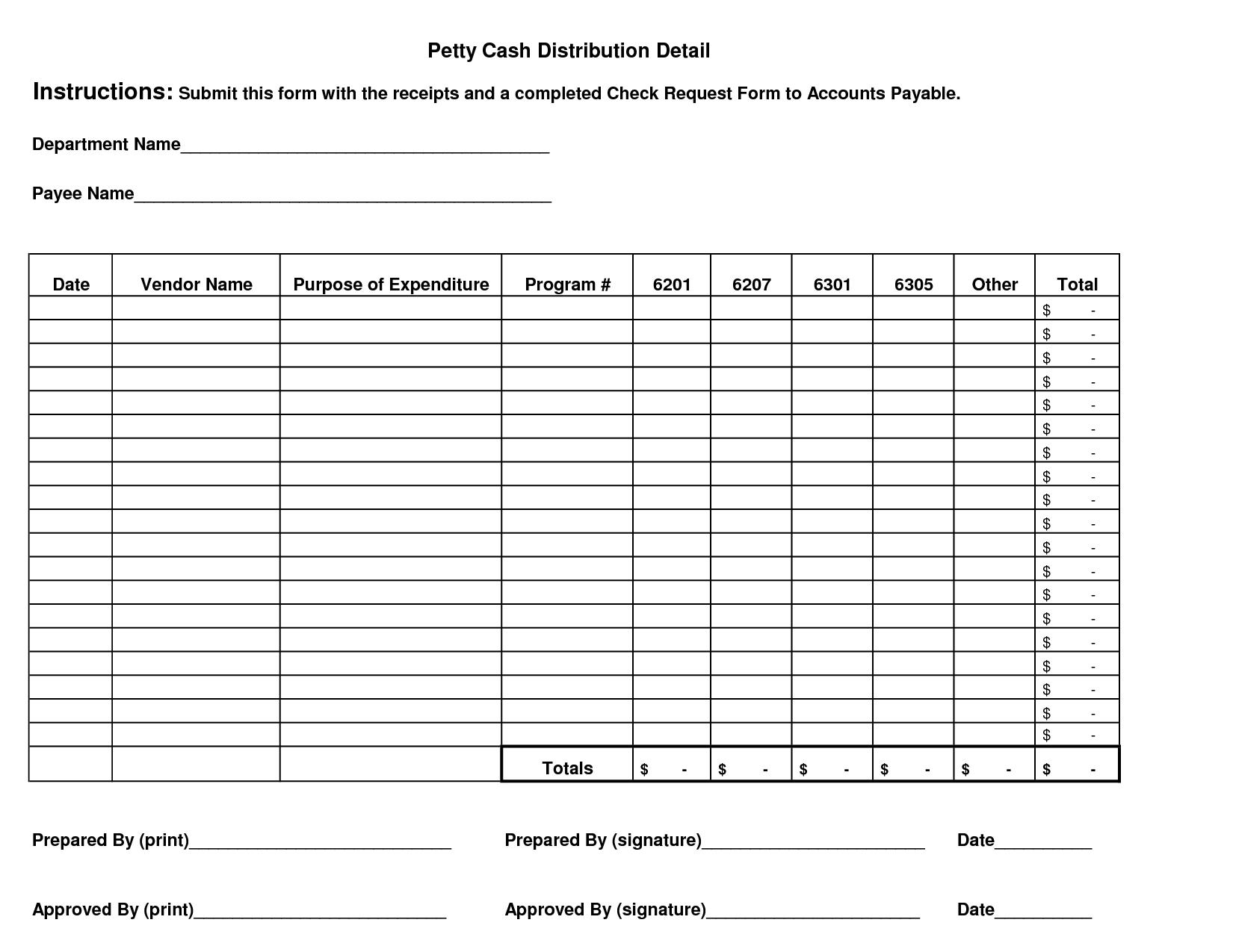 Petty Cash Log Form