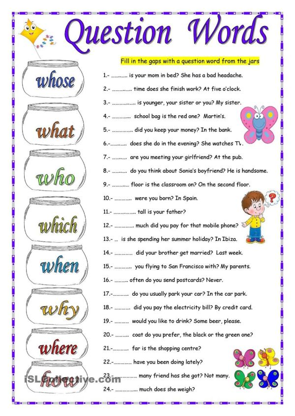 QUESTION WORDS english Pinterest English Worksheets