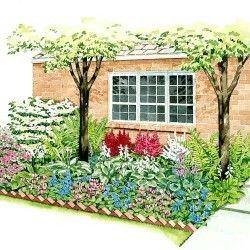 shade garden backyard foundation
