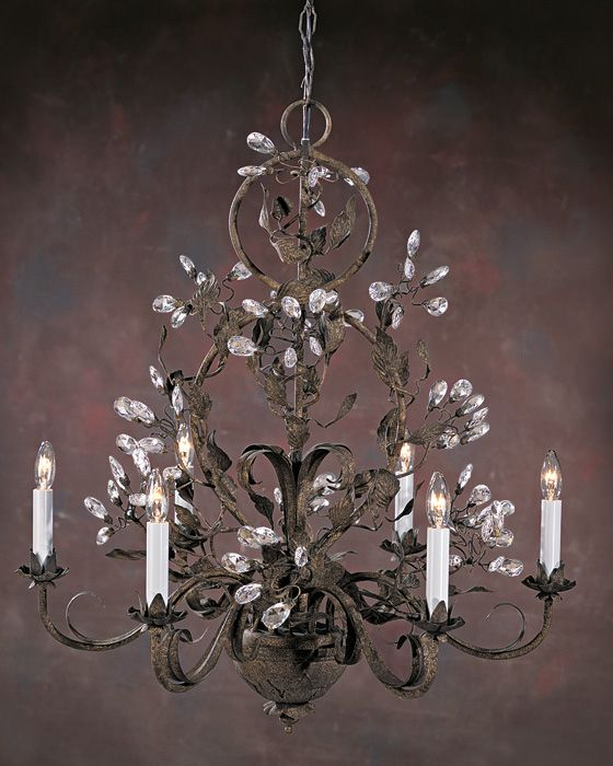 Six Light Hand Crafted Chandelier With Swarovski Crystal Drops On A Burnished Wrought Iron