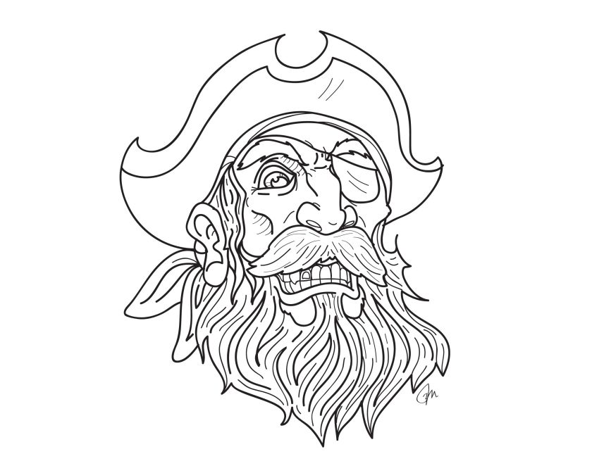 pirate tattoo beard and mustache  gold tooth and eye