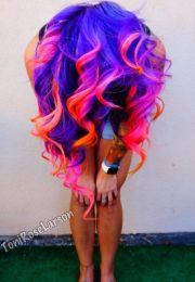purple pink and orange hair brightly