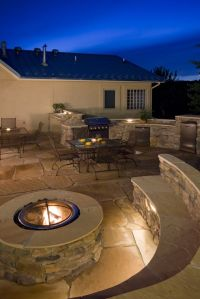 Backyard - covered patio area with large stone fireplace ...