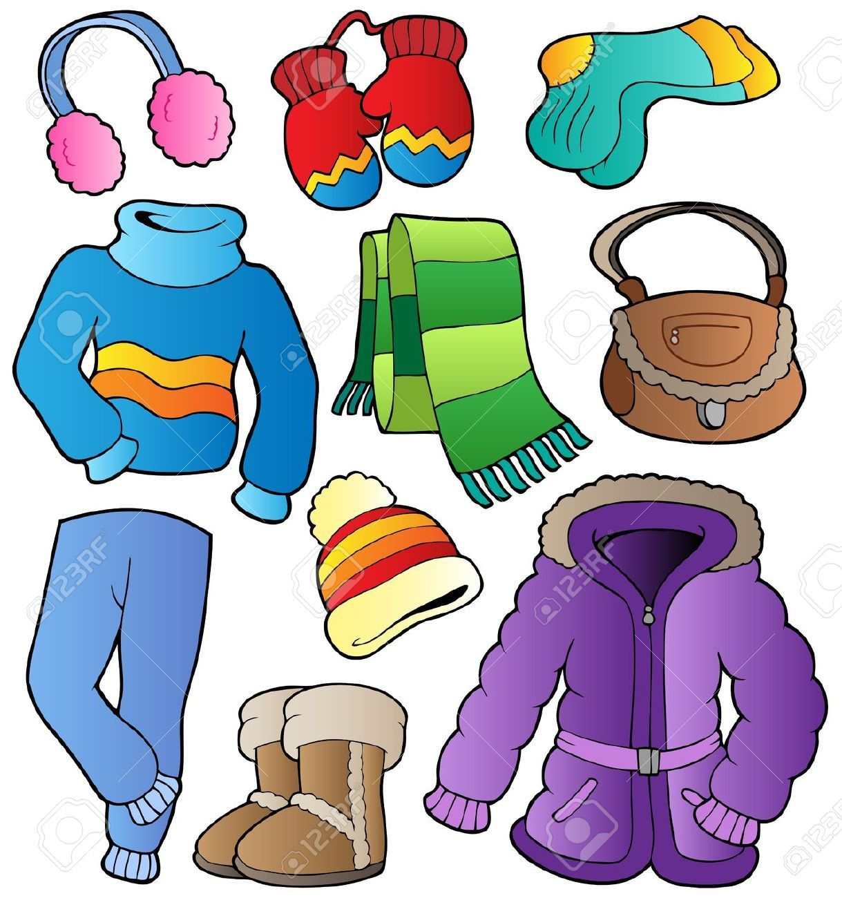 Children In Winter Clothes Coloring Pages