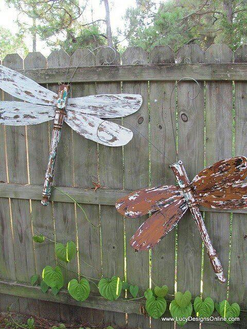 DIY Garden Art Ideas Gardens Wooden Ceiling Fans And Dragon Flies