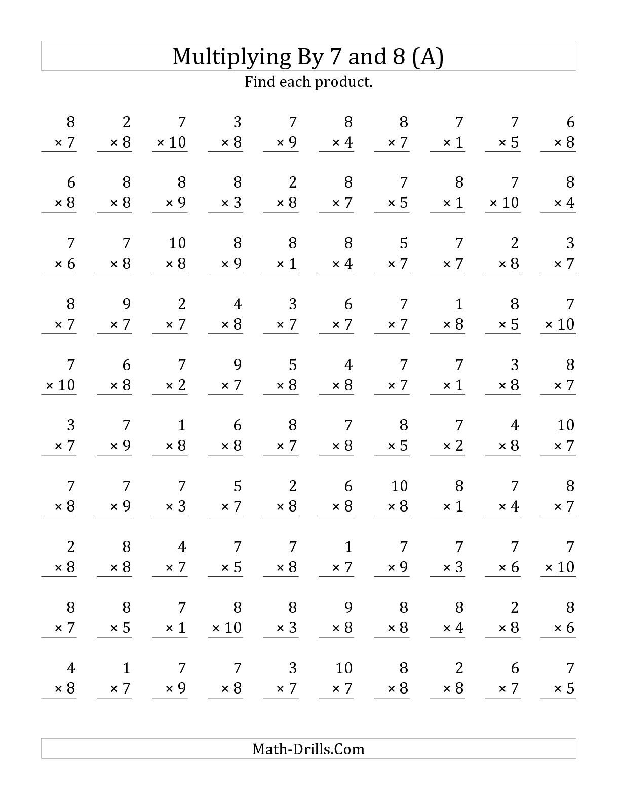 The Multiplying 1 To 10 By 7 And 8 A Math Worksheet