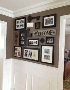 Picture collage for front entry and impressive wainscoting crown moulding good paint scheme with black doors also  ebeea   ba   eg pixels new house rh pinterest