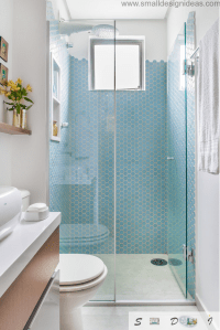 Extra Small Bathroom Design Ideas of neat blue mosaic ...