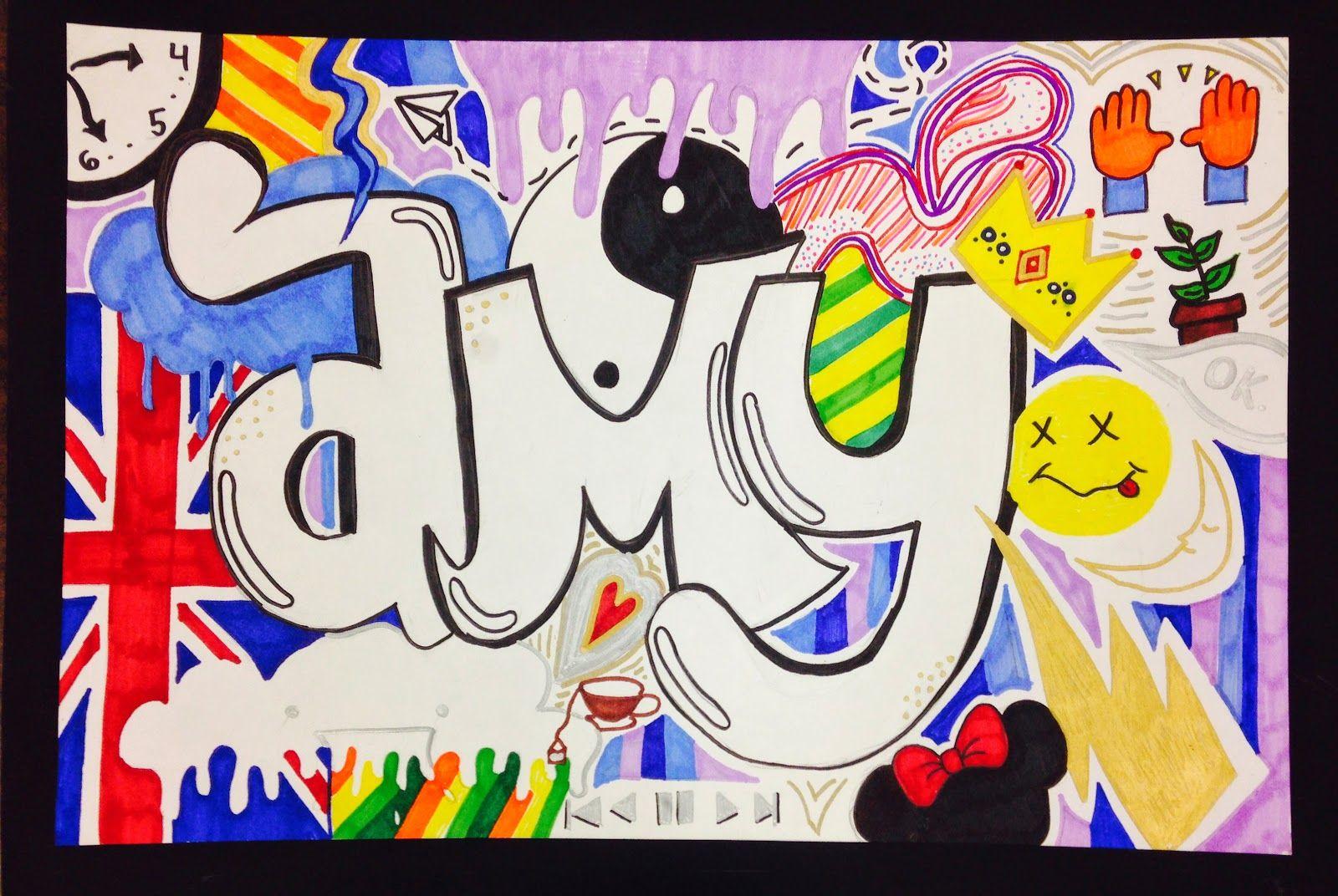 Sylvandale Middle School Art Class Graffiti Name Tag