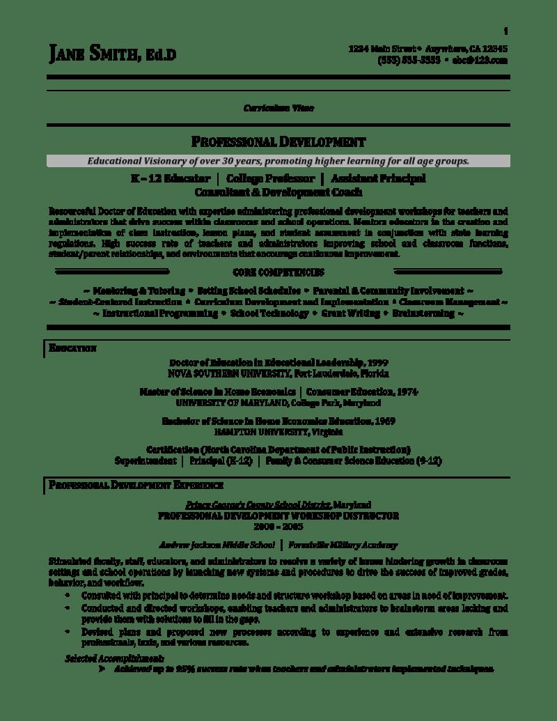 Education Resume Example Curriculum Vitae Format Teaching