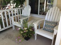 Unique Pair Of White Wooden Adirondack Chairs And Cute