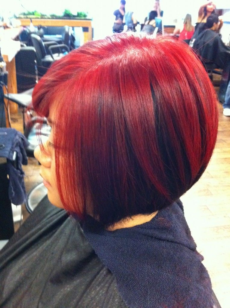 Asymmetrical Bob For Black Hair Black & Red Asymmetrical Bob