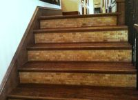 Tile on the back board of stairs! Love it | For my home ...