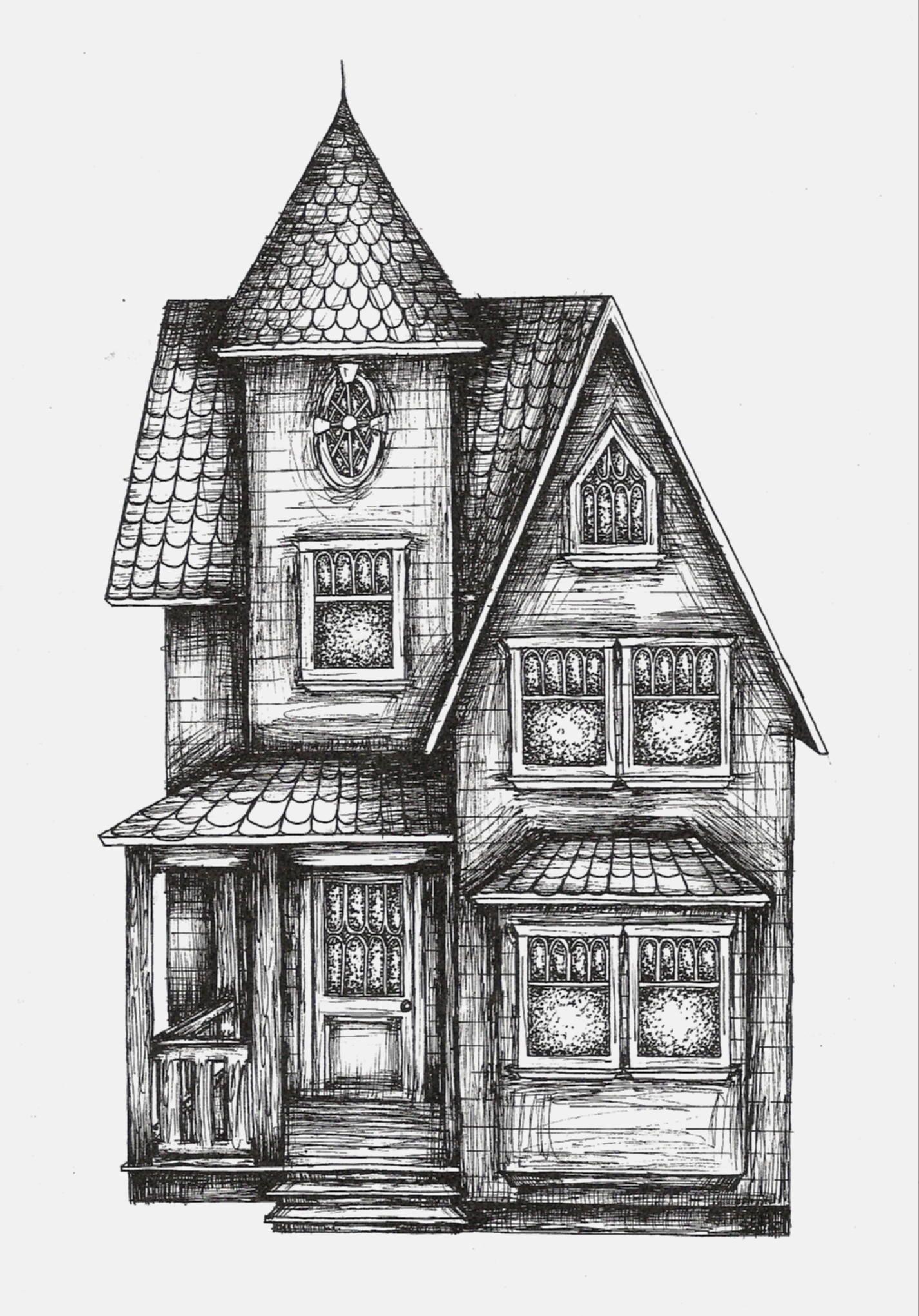 Haunted House #art #illustration #drawing Gebouwen Kleuren
