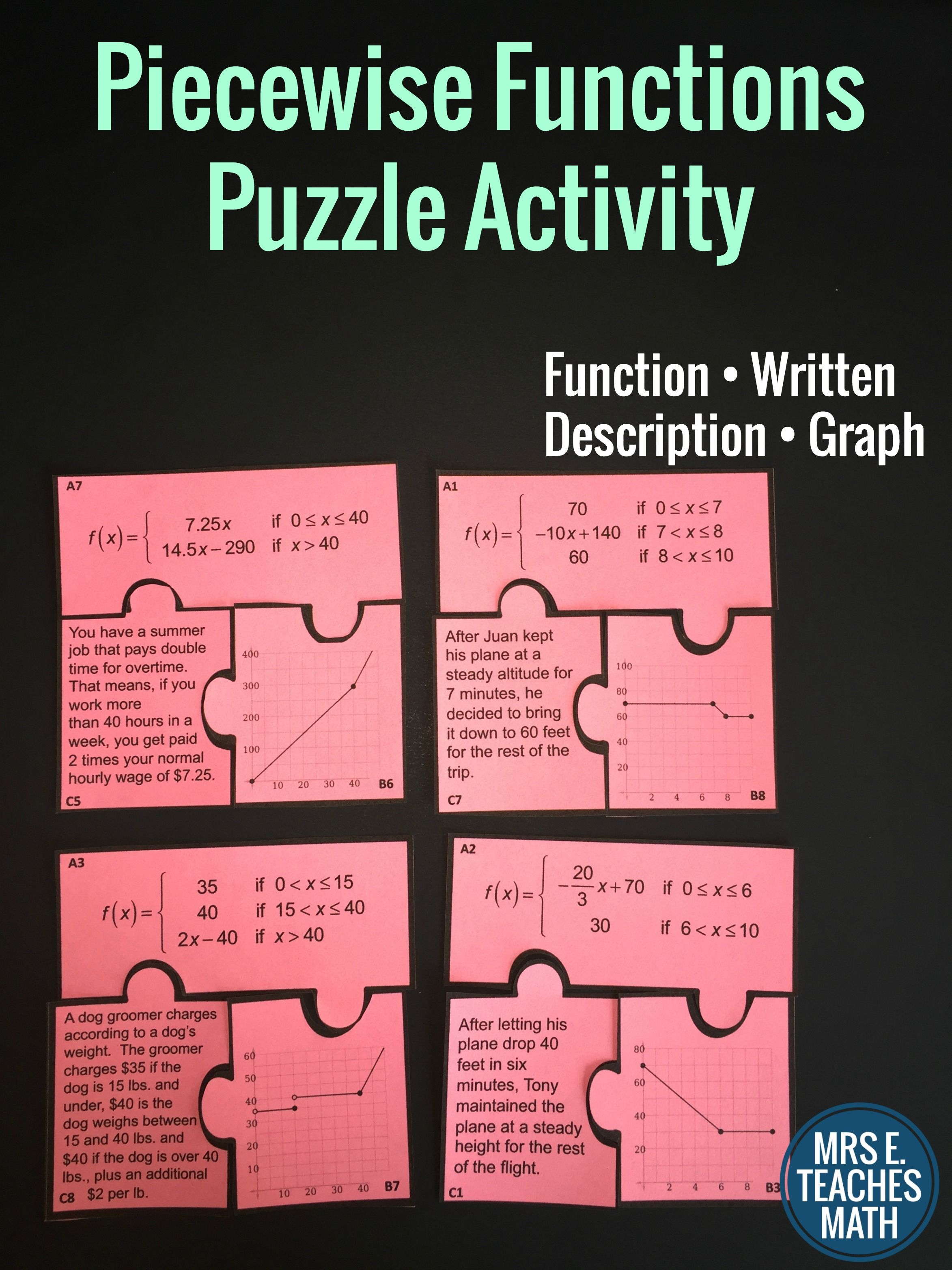 Piecewise Functions Cut Out Puzzle