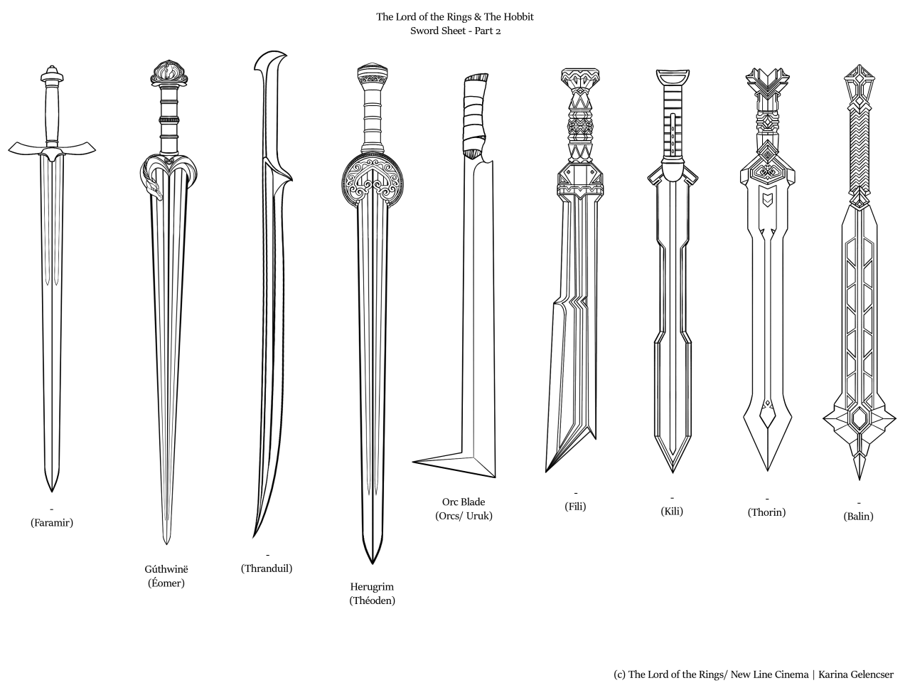 The Lord Of The Rings Amp The Hobbit Sword Sheet