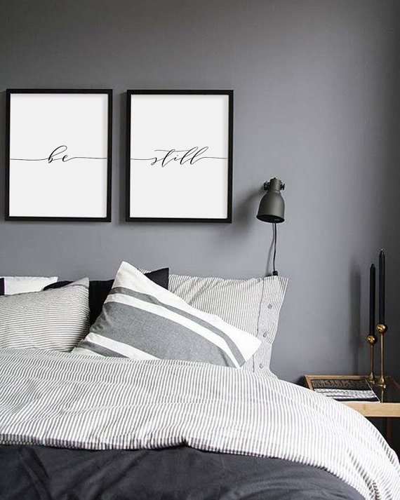 Be still print minimalist typography art bedroom poster yoga wall also rh pinterest