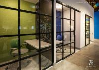 Modern open office .com company. Phone rooms, black