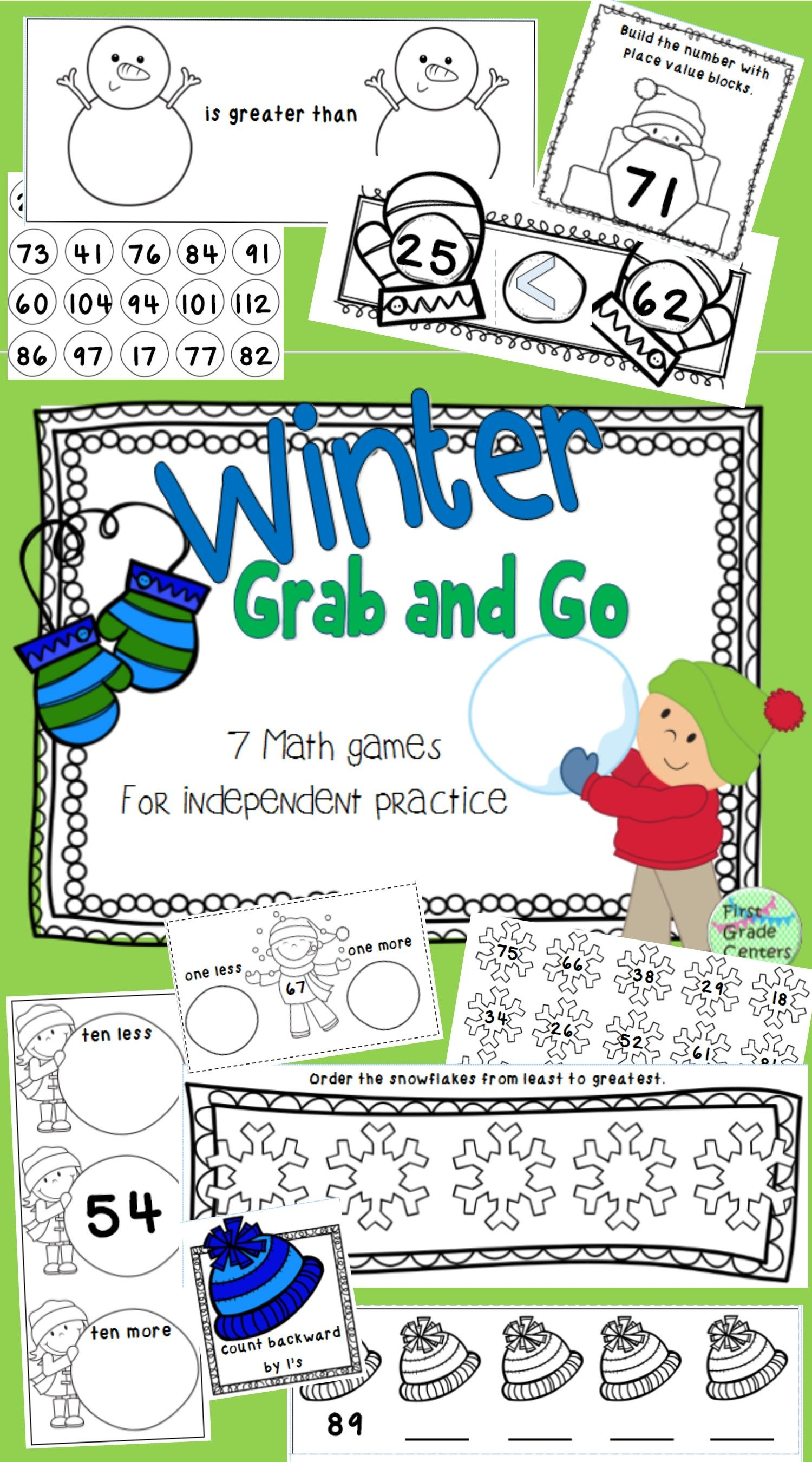 Winter Grab And Go 7 Math Games For Independent Practice