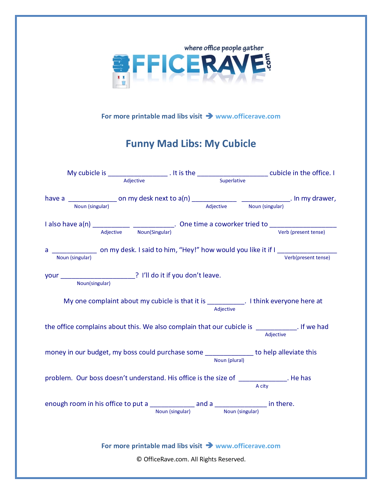 Mad Libs Printable