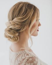 pretty wedding updo bride