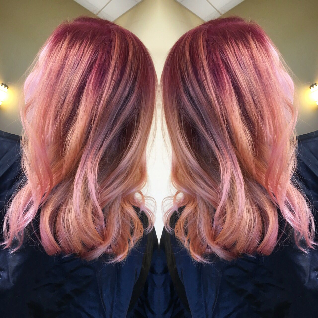 Rose Gold Hair With A Deep Red Root Rosegoldhair
