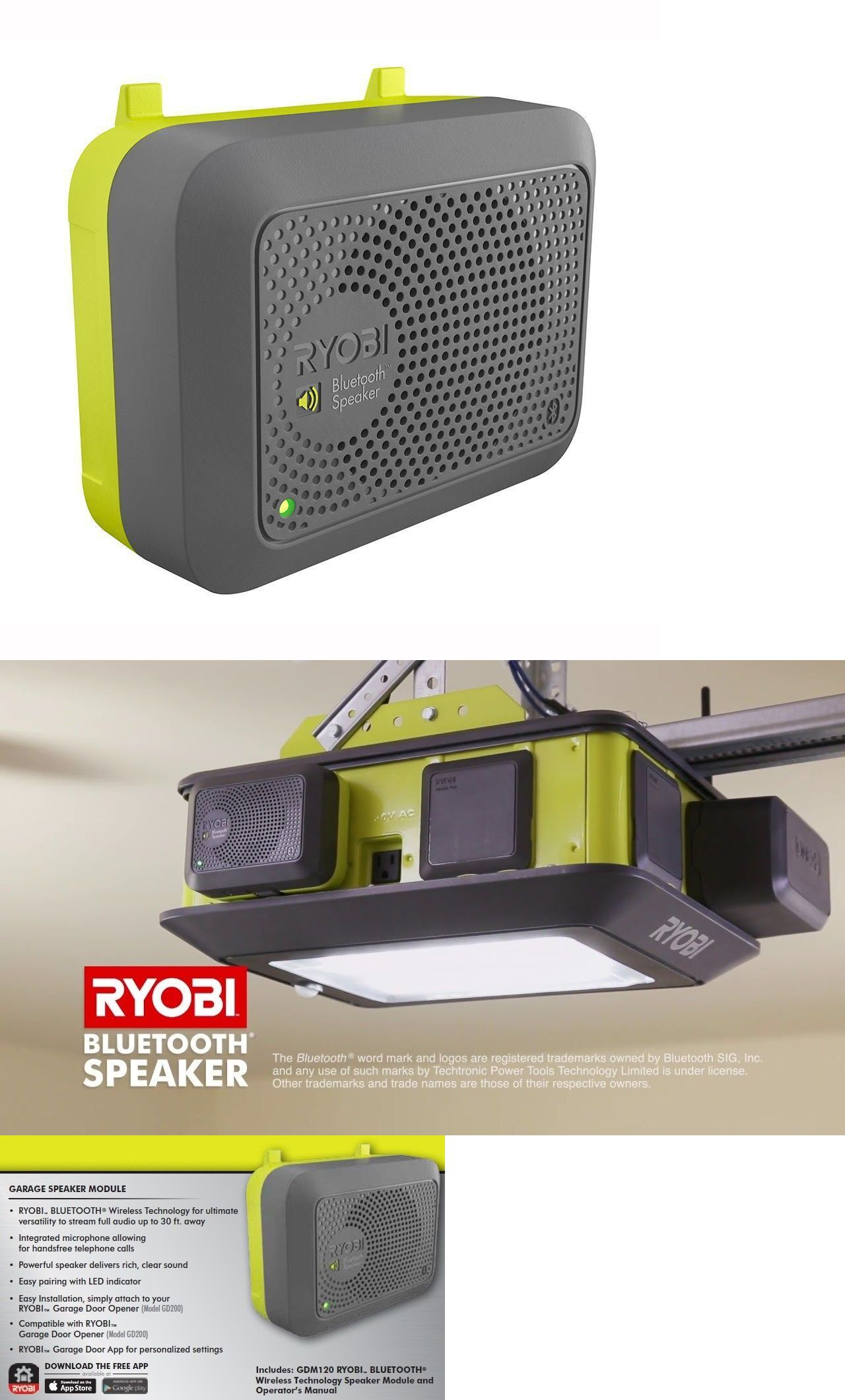 hight resolution of garage door parts and accs 179687 ryobi bluetooth speaker accessory led indicator garage doors openers