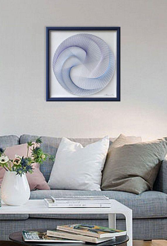 Modern home decor wall  abstract string by feniksartdeco also rh pinterest