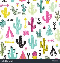 Colorful cacti indian summer teepee and arrow cactus ...