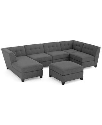 harper fabric 6 piece modular sectional sofa fairfield inn bed with chaise ottoman created for macy s