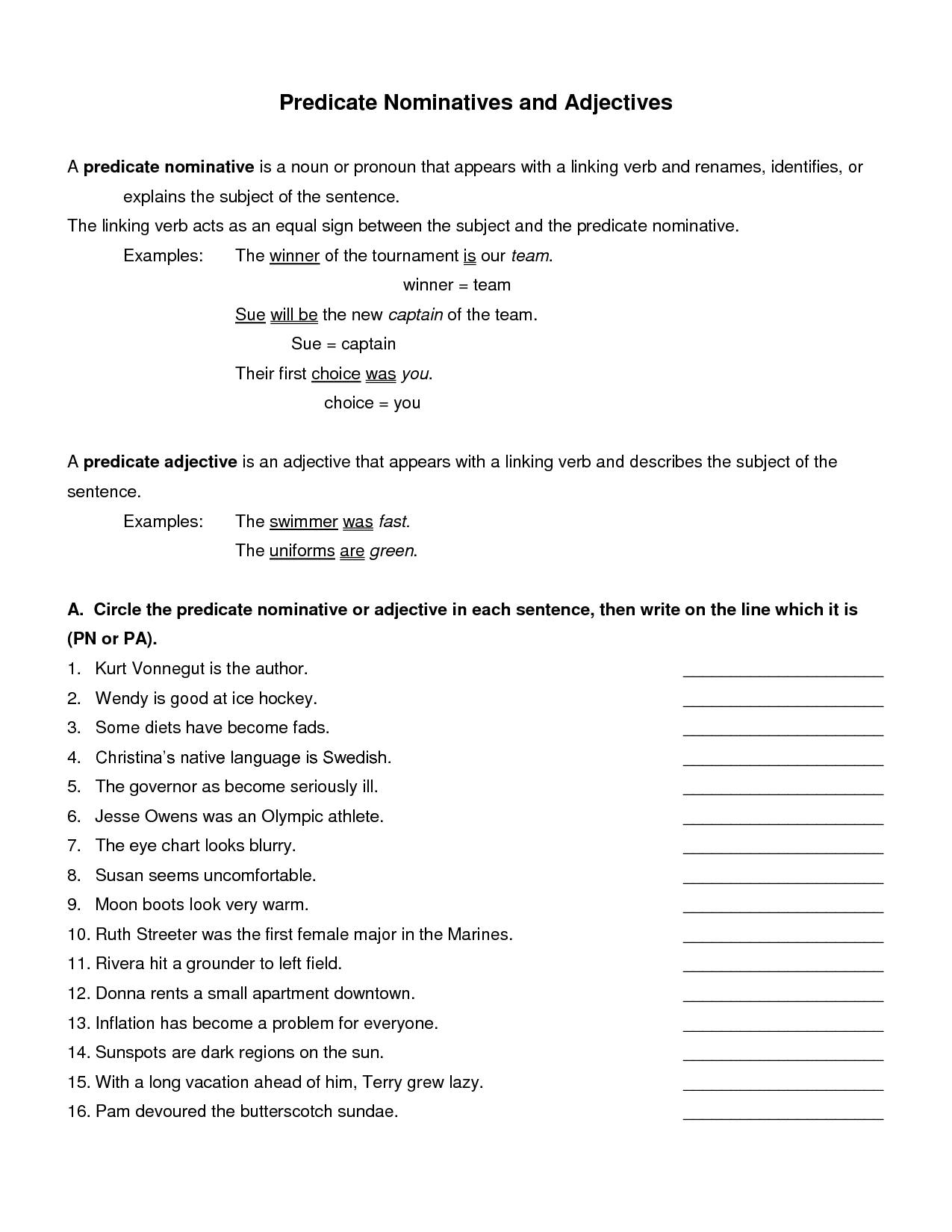 Subject Noun And Predicate Noun Worksheet With Answers