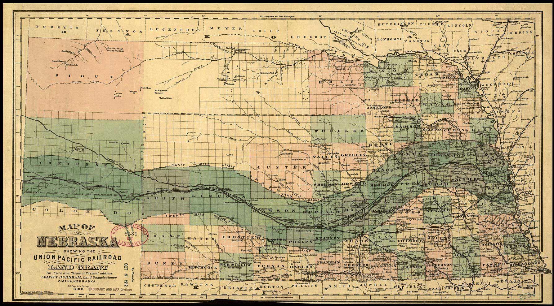 Century Map 19th Pacific Atlantic