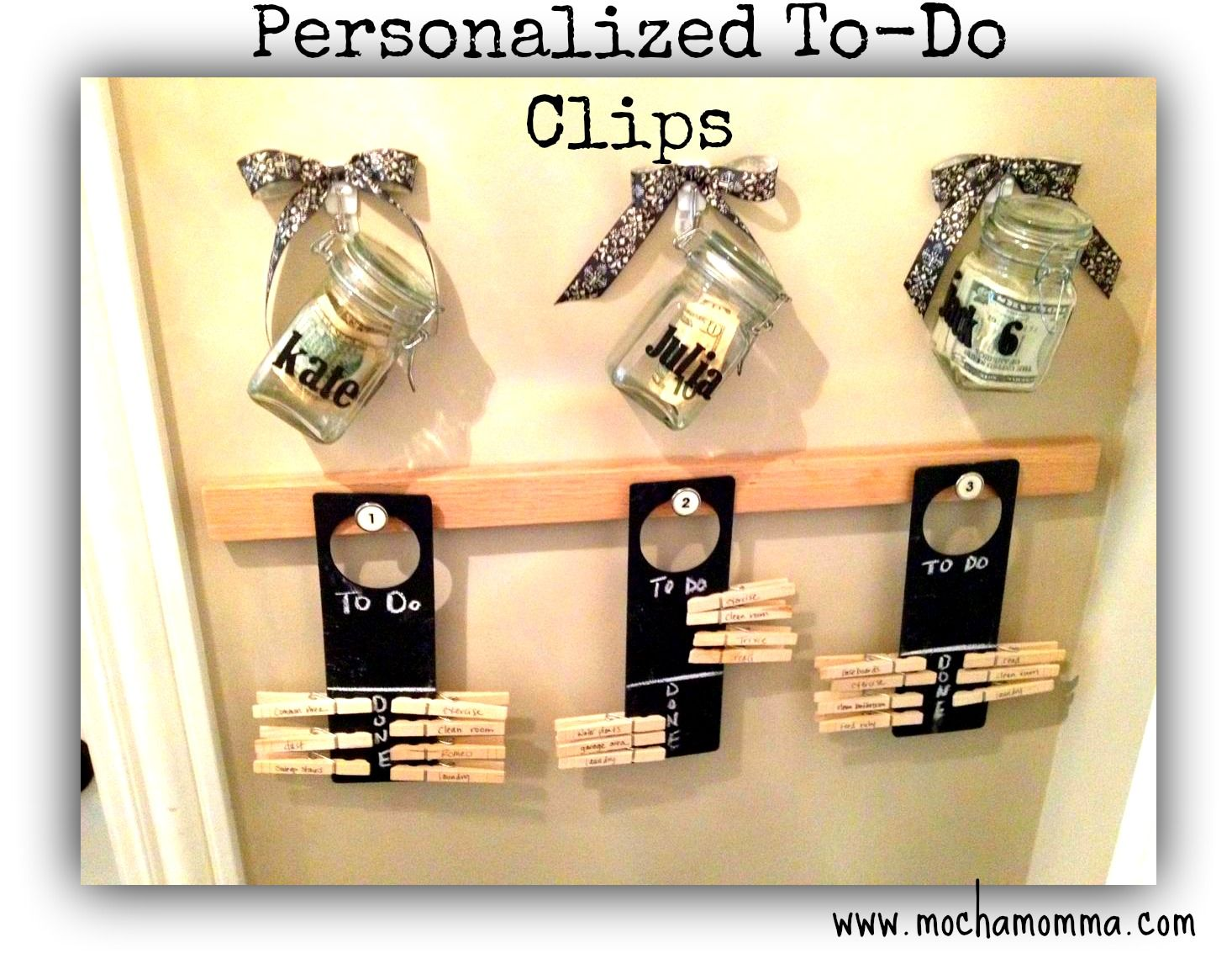Chore Clips On Door Knob Sign Todo Lists With Hanging