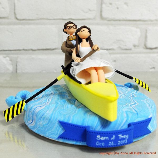 Sport Of Rowing Boat Custom Wedding Cake Topper Decoration