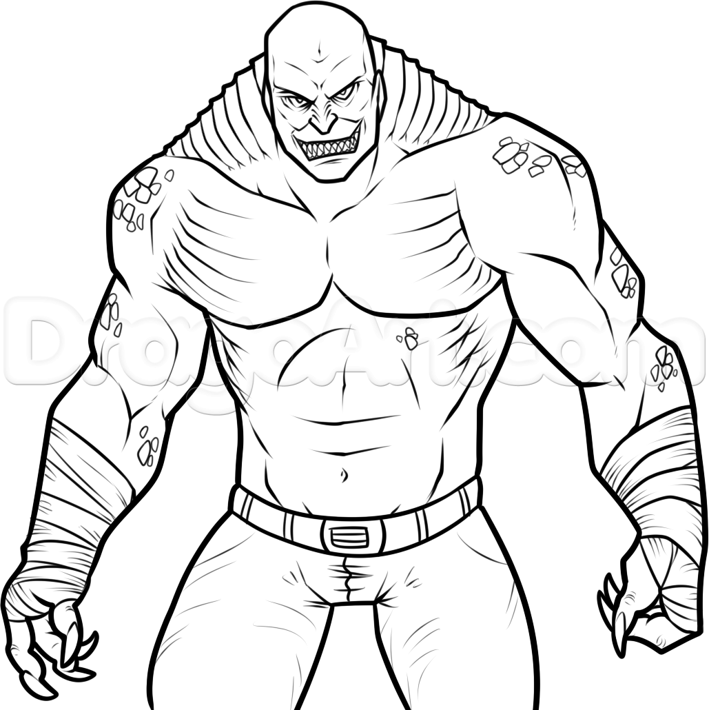 How to Draw Killer Croc From Suicide Squad, Step by Step