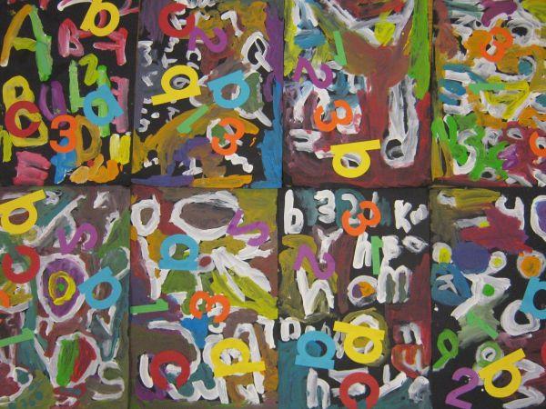 Art In Big Green Room Kindergarten Abstract Alphabet