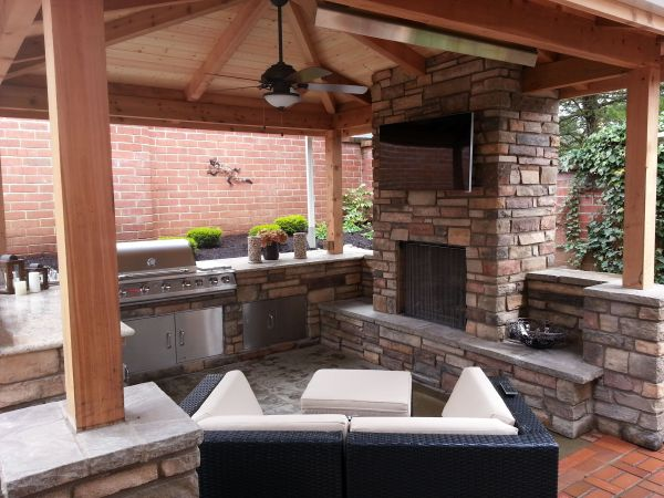 outdoor kitchen covered patio outdoor fireplace, outdoor living, outdoor kitchen, covered patio, granite countertops, stone