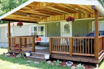 Rough Cut Lumber Porch Roof Covered Front Rustic