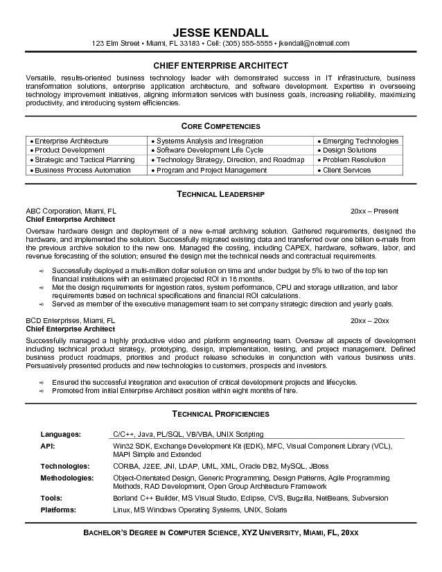Sample Of Enterprise Architect Resume Jobresumesample Com