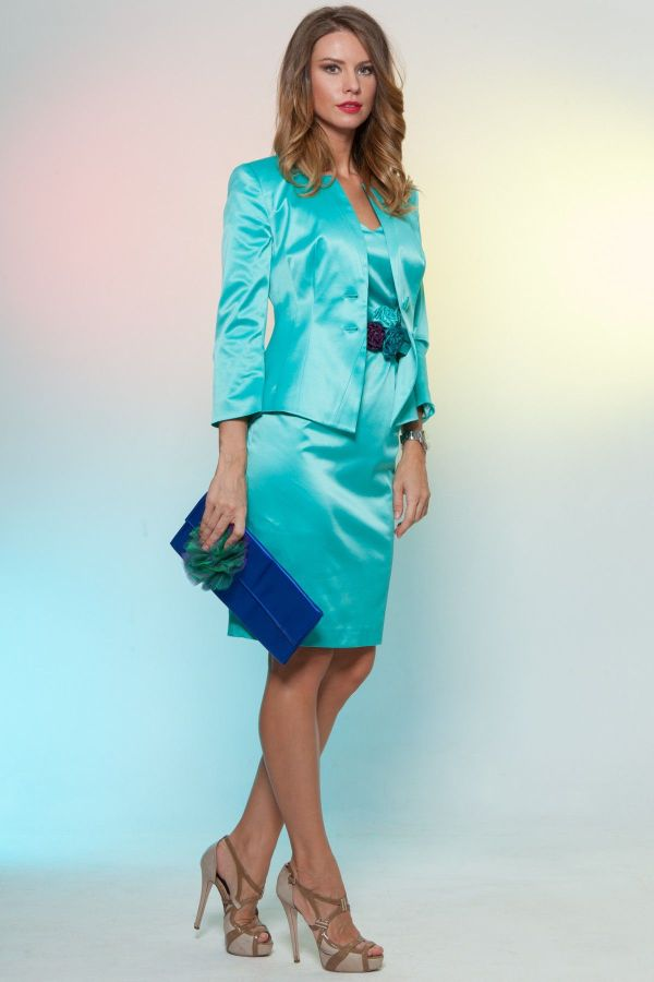 Seafoam Green Satin Skirt Suit And Brown Ankle Strap High