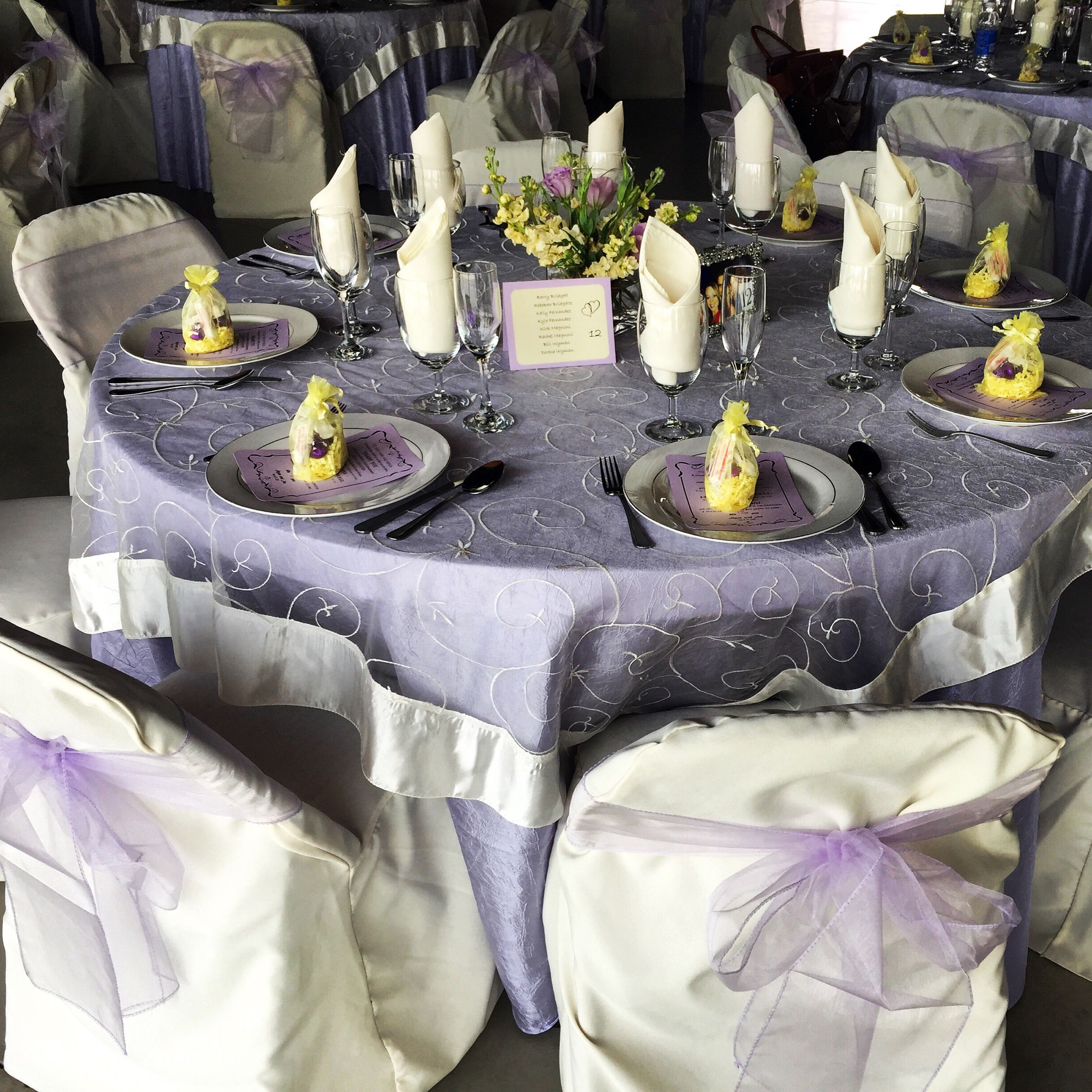 gray chair covers for weddings baby pink crushed lavender table cloth ivory embroidered organza